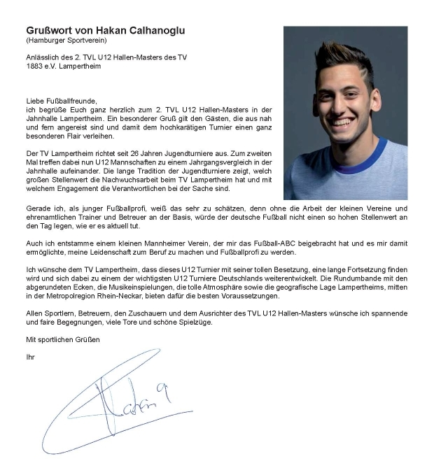 Grußwort von Hakan Calhanoglu zum TVL U12 Hallen-Masters 2014