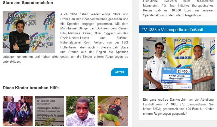 Radio Regenbogen Artikel zur Spendenübergabe