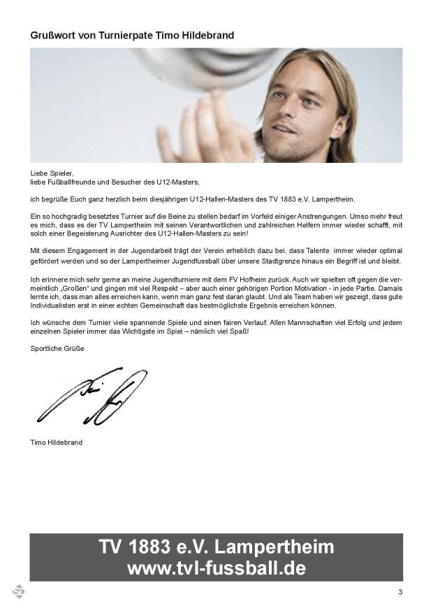 Grußwort Timo Hildebrand zum TVL U12 Hallen-Masters 2016